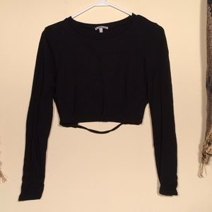 Charlotte Russe L black crop top.